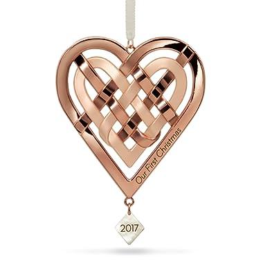Hallmark Keepsake 2017 Our First Christmas Heart Metal Dated Christmas Ornament