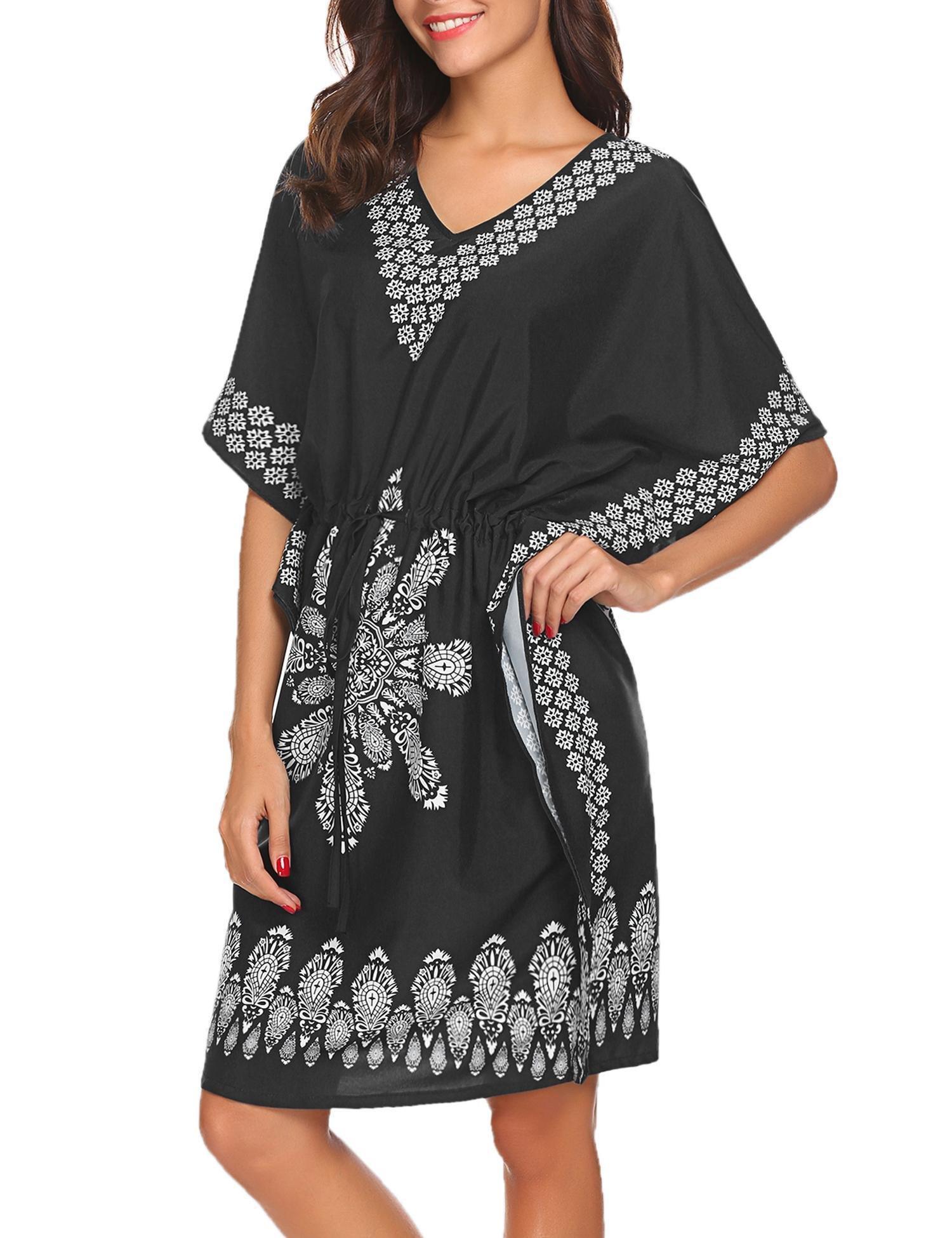 UNibelle Women's V Neck Swimwear Cover up 3/4 Sleeve Embroidered Tunic Dresses