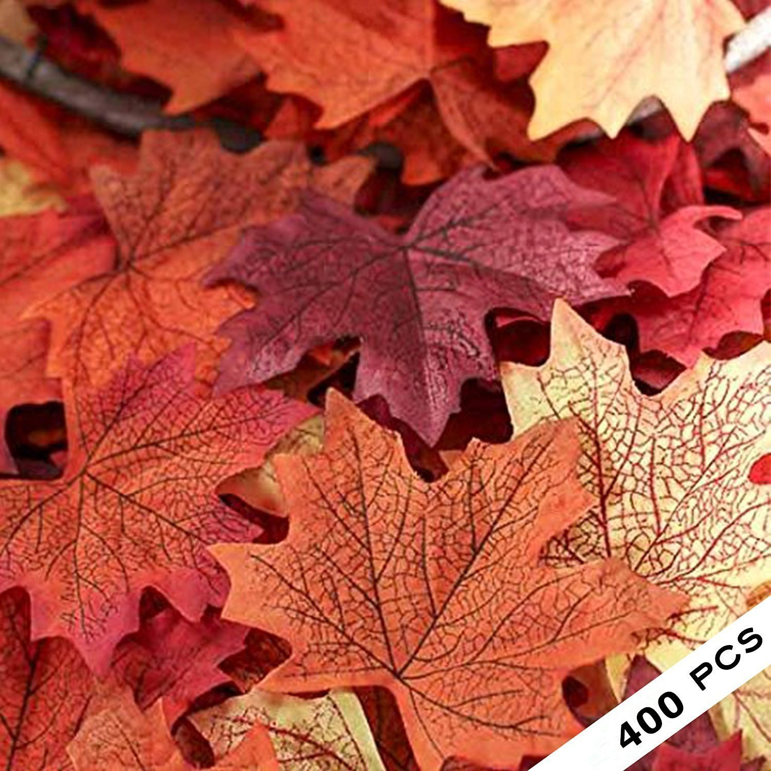 COSYWORLD 400 Assorted Mixed Fall Colored Artificial Maple Leaves for Weddings, Events and Decorating by COSYWORLD