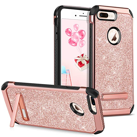 GUAGUA iPhone 8 Plus Case Kickstand Women Girls Slim Glitter Bling Dual  Layer Hybrid Hard PC 63665599ea