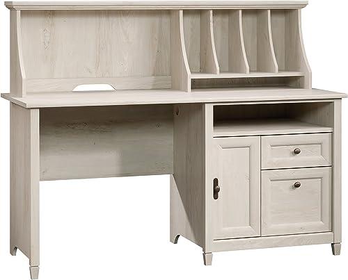 Sauder Edge Water Computer Desk With Hutch, Chalked Chestnut finish