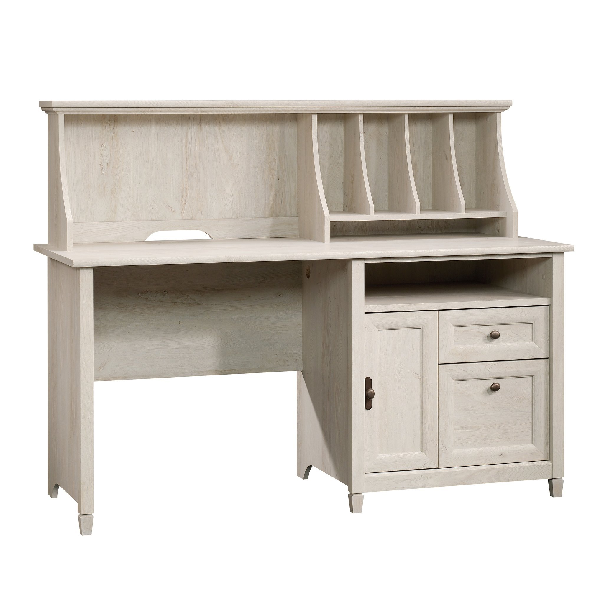Sauder Edge Water Computer Desk With Hutch, L: 59.06'' x W: 23.307'' x H: 46.417'', Chalked Chestnut finish by Sauder