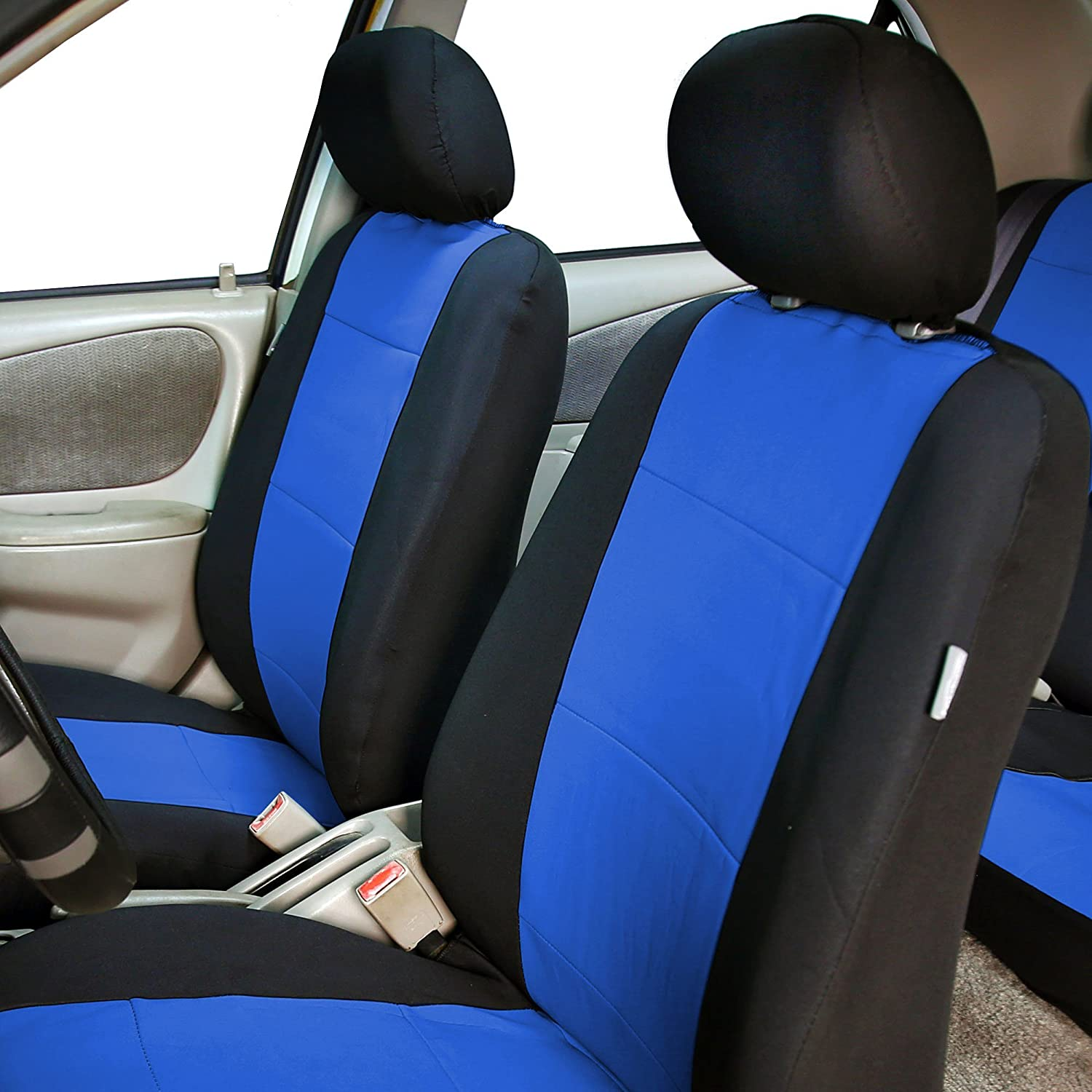 Amazon FH GROUP FB083102 Neoprene Waterproof Car Seat Covers Pair Set Buckets Airbag Ready Blue Automotive