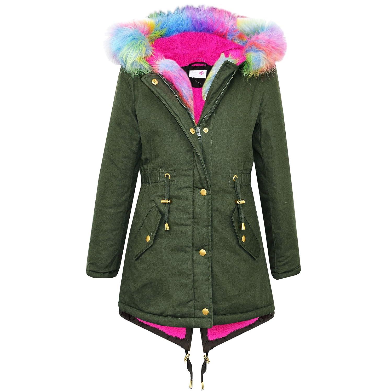 Brand New Kids Girls Parka Jackets Faux Fur Trim Hood Kids Khaki ...