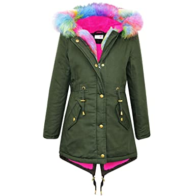 Brand New Kids Girls Parka Jackets Faux Fur Trim Hood Kids Khaki ...