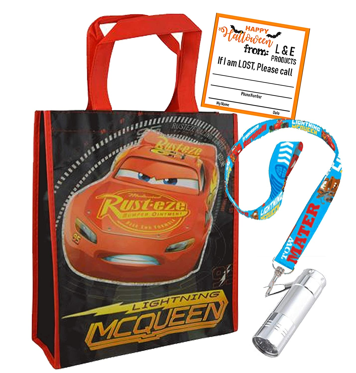 Cars Lightning McQueen Medium Sized Halloween Trick or Treat Loot Bag /& Lanyard with Attached LED Safety Flashlight PlusIf Im Lost Sticker! !