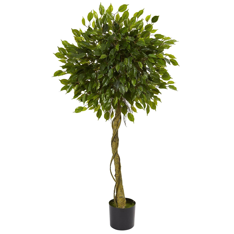 ほぼ自然5 ' Ficus人工トピアリーツリー、UV耐性(インドア/アウトドア) 5、グリーン B076BS84PL