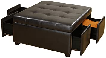 Furniture Of America Warwick Ottoman With Storage Drawers Dark Espresso