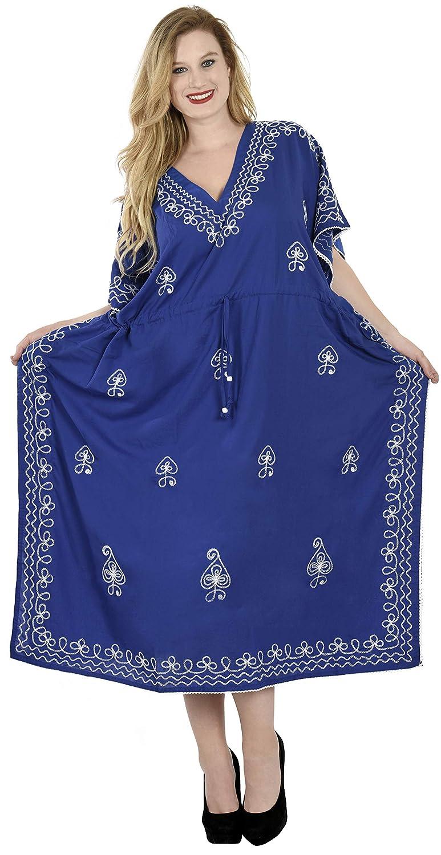 LA LEELA Femmes Rayonne Longue Kaftan Tunique Kimono brod/é Grande Taille Robe pour Loungewear Vacances V/êtement de Nuit Plage Tous Les Jours Haut Robes Maxi Caftan S