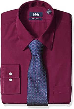 Studio 1735 Mens Mens Dress Shirt and Tie Combo Neat Tie Reg Fit