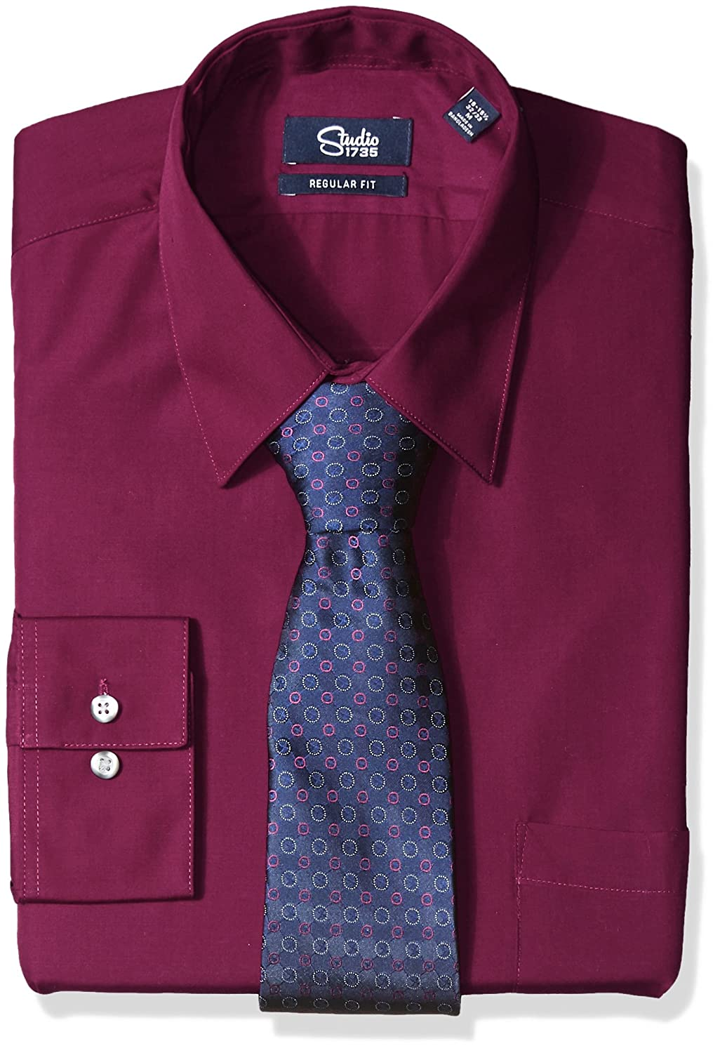 Studio 1735 Mens Dress Shirts And Tie Combo Dot Tie Athletic Fit At