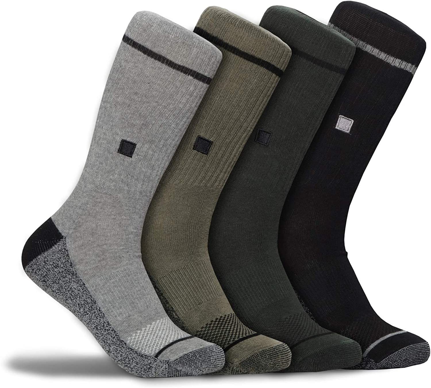 Work & Outdoor True Fit Impact Cushion Sock - Moisture Wicking Breathable 360 Support (4 pk) Work Socks for Men and Women