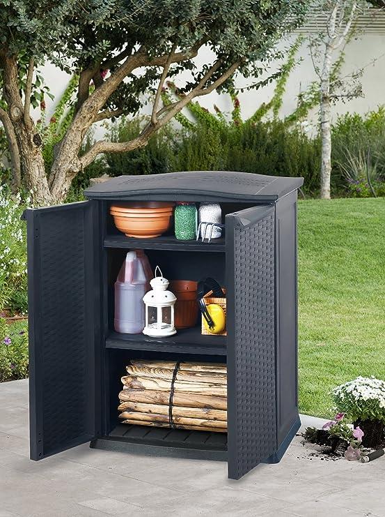 Keter - Cobertizo mini, 2 estantes ajustables, carga por estante ...