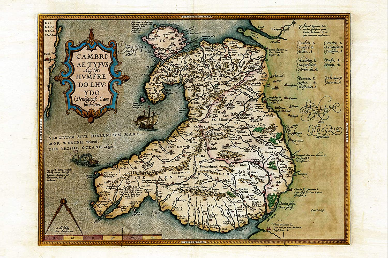 Hondius 1633 Welsh Latin Early Map Wales Cymru Large Wall Art Print 18X24 In