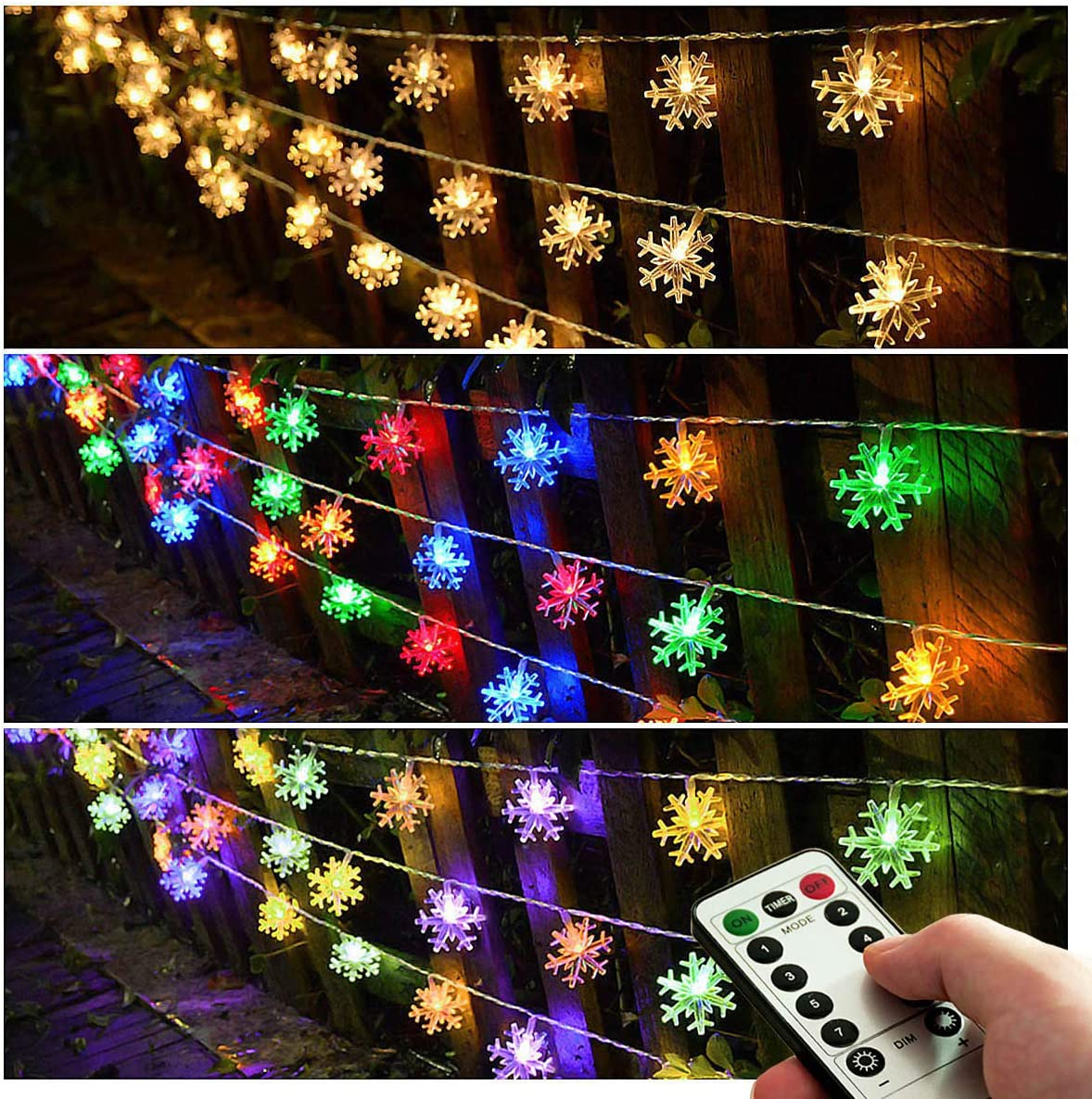 Homeleo Multicolor Changing LED Snowflake Decorations,Battery Operated Christmas Fairy Lights, Light up Snowflake Ornaments for Christmas Tree, Party, Wedding, New Year Decor 25ft.50Leds