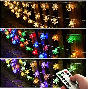 Homeleo Multicolor Changing LED Snowflake Decorations,Battery Operated Christmas Fairy Lights, Light up Snowflake Ornaments for Christmas Tree, Party, Wedding, New Year Decor(25ft.50Leds)