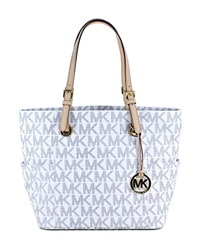 559891883d09a5 Michael Kors Logo Print Signature Tote in Navy/White: Amazon.in ...