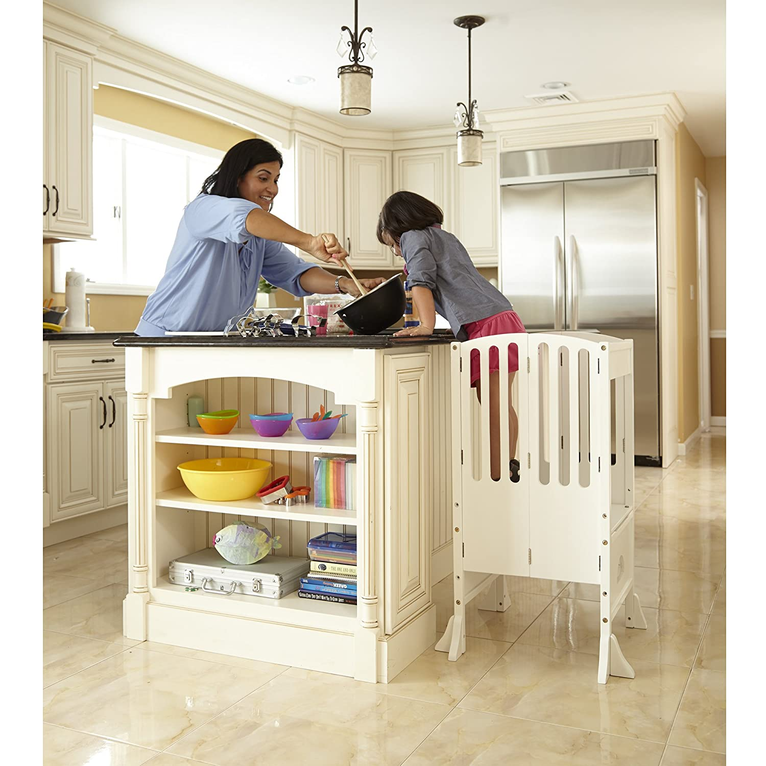 Amazon.com: Guidecraft Contemporary Kitchen Helper White Adjustable Height  Step Up For Kids: Baby