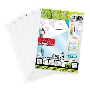 Elba - Fundas perforadas para archivador (plástico, 30 unidades), transparente: Amazon.es: Oficina y papelería
