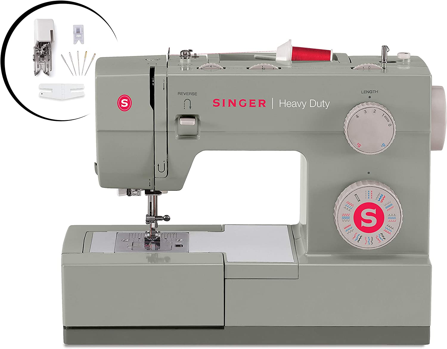 Singer Heavy Duty 4452 Sewing Machine With Accessories, 32 Built-In Stitches, 60% Stronger Motor, Stainless Steel Bedplate