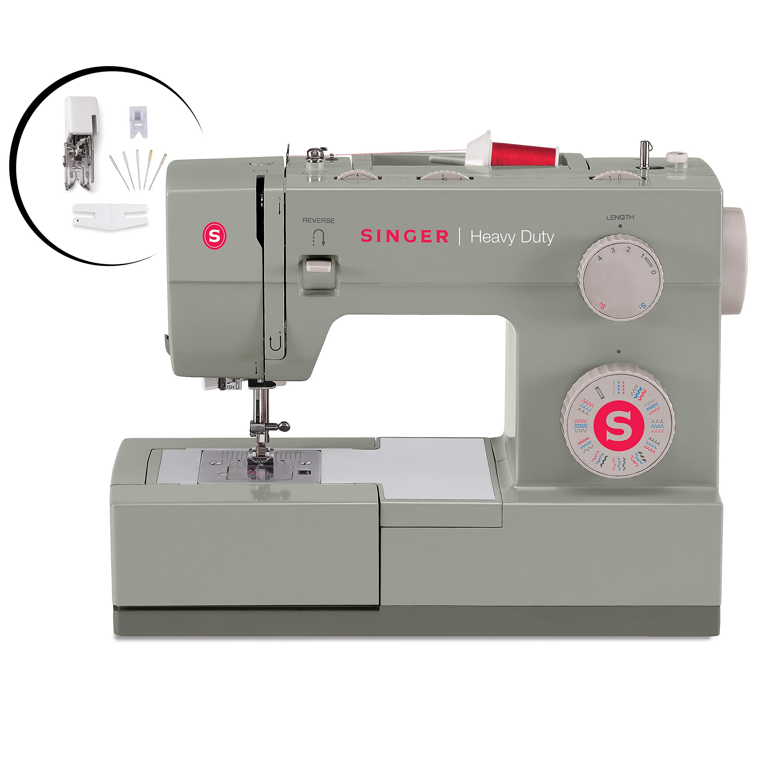 Singer  Heavy Duty 4452 Sewing Machine With Accessories, 32 Built-In Stitches, 60% Stronger Motor, Stainless Steel Bedplate, 48% Faster Stitching Speed & Automatic Needle Threader by SINGER