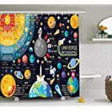 Ambesonne Outer Space Decor Collection, New Horizons of Solar System Infographic Pluto Venus Mars Jupiter Skyrocket Design, Polyester Fabric Bathroom Shower Curtain Set, 75 Inches Long, Blue Yellow