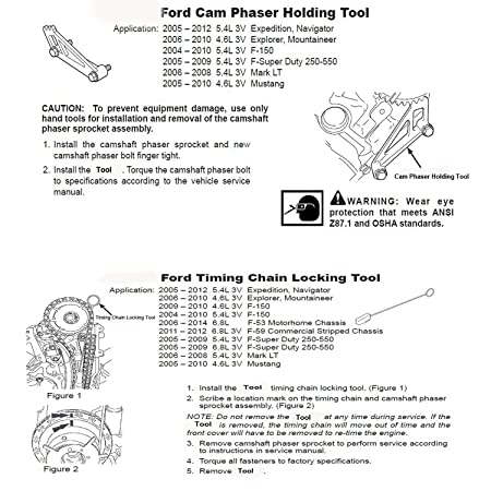 amazon com: moker ford engine cam tool kit - cam phaser holding and timing  chain locking tool for ford 4 6l/5 4l/6 8l 3-valve engine: automotive