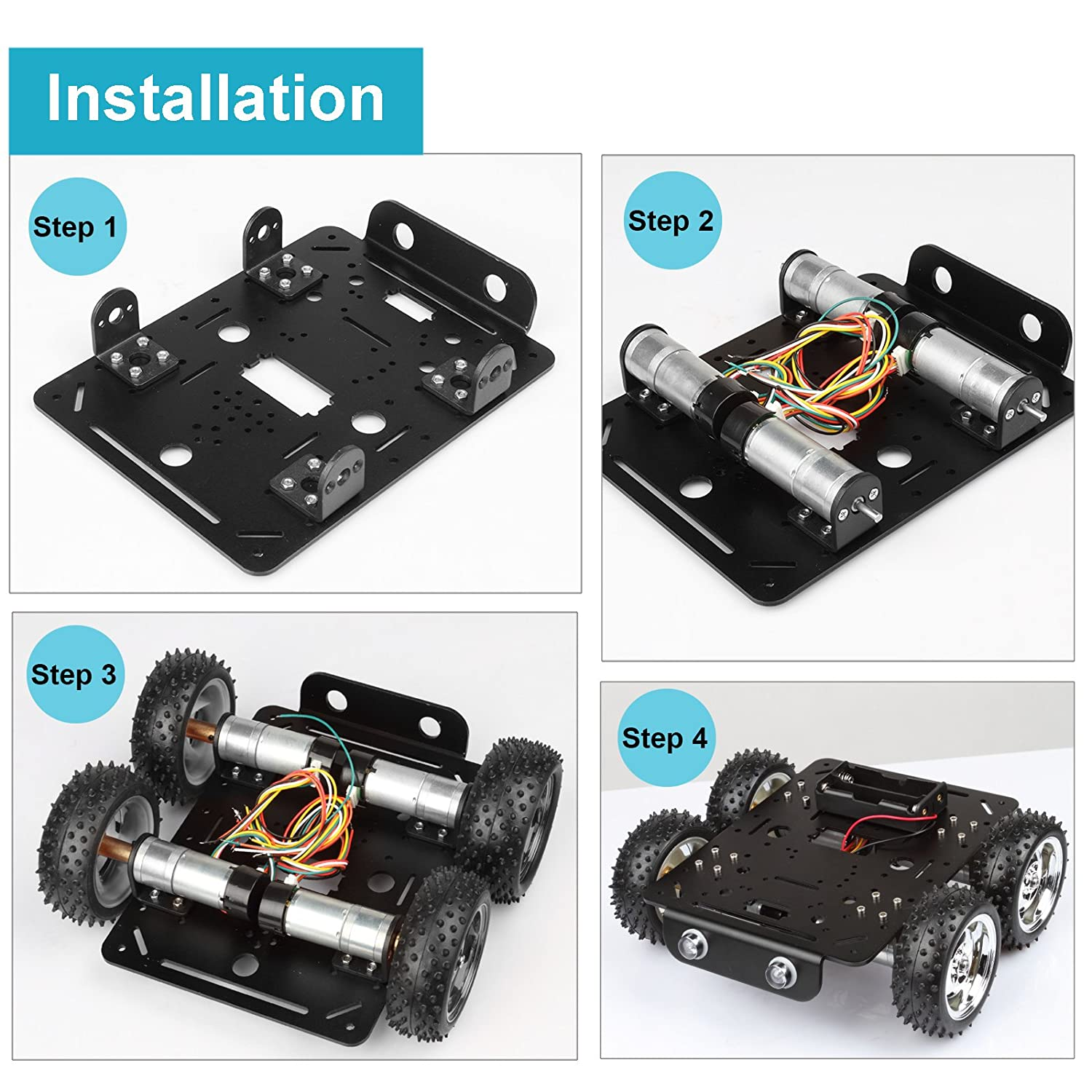 Off-Road Rubber Tire 3.1 for Arduino Raspberry Pi DIY STEM Education 4 pcs DC 9V Hall speed Motor Aluminum Alloy Chassis 9.0x8.2x3.5inch 4WD Obstacles Crossing Robot Smart Car Chassis Kit