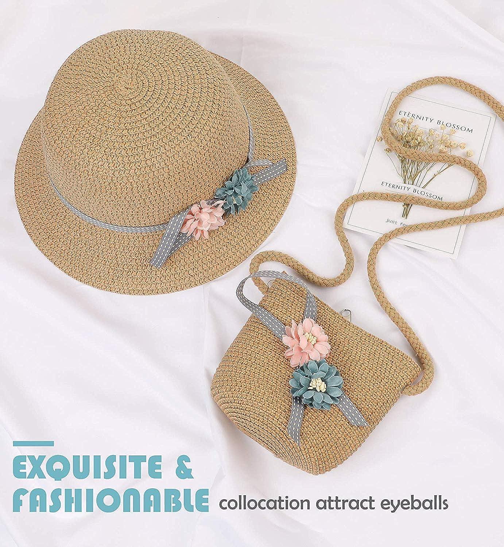 Lachi Cappello da Sole Bambino di Paglia Bordo Largo con Borsa Berretto Fiori Protezione Solare Anti UV Eatate Spiaggia