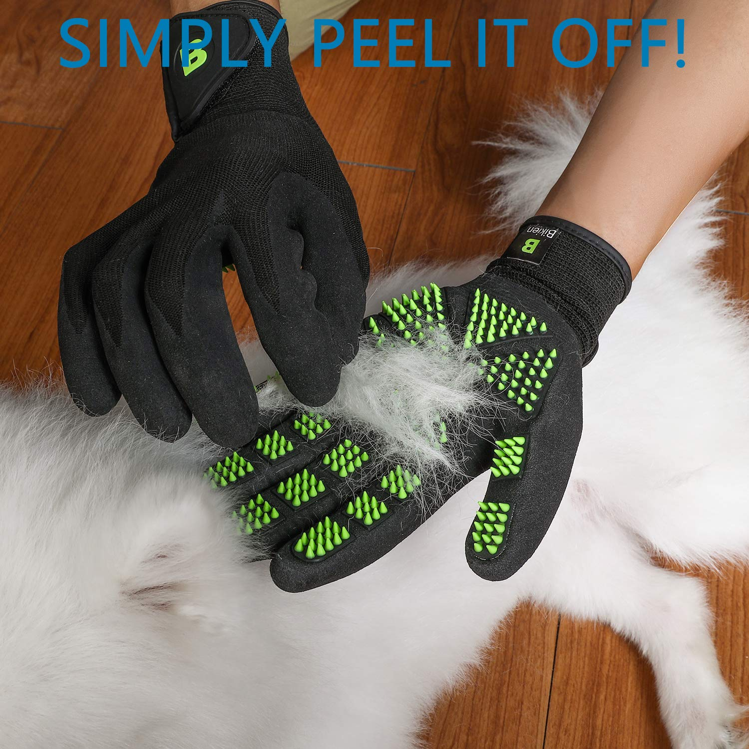 Bikien Pet Grooming Gloves, Dog Horse and Cat Hair Removal Gloves, Enhanced Five Finger Design, 330 Soft Rubber for Shedding, Bathing, Massaging & Hair Removal