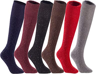 WOMENS SOCKS 4-7-LIGHT COLOR 6 Pairs Of Ladies  Wool BLEND Sock,Work Boot Socks
