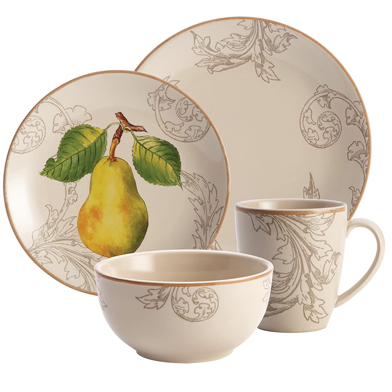 Amazon.com | BonJour 16-Piece Dinnerware Orchard Harvest Stoneware Set Bowls  sc 1 st  Amazon.com & Amazon.com | BonJour 16-Piece Dinnerware Orchard Harvest Stoneware ...