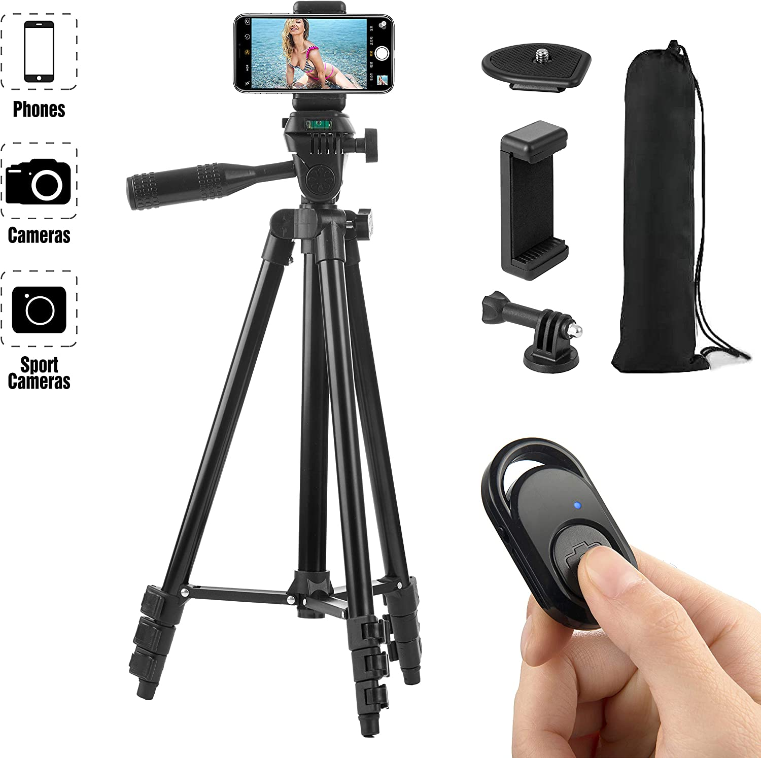 Hitch Phone Tripod, Gopro Tripod 51 Inch 130cm Aluminum Lightweight Smartphone Tripod for iPhone/Samsung/Huawei Cellphone, Camera and Gopro with Bluetooth Remote Control, Carrying Bag and Gopro Mount