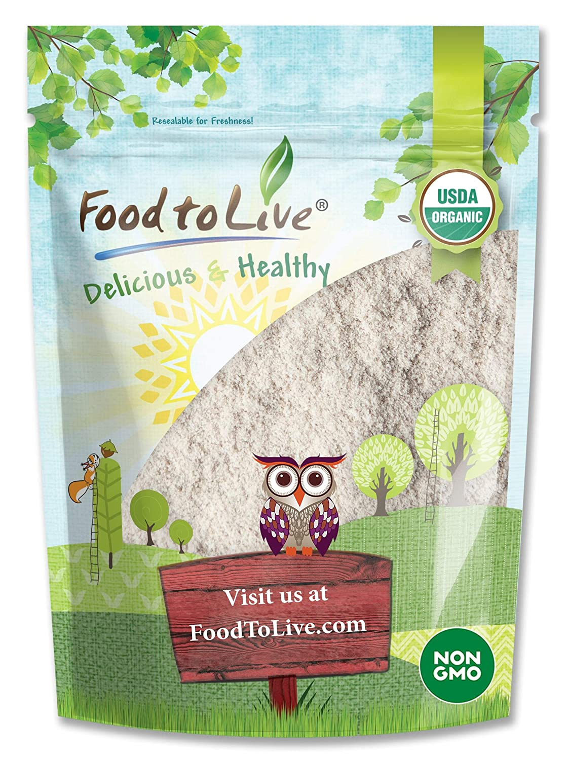 Organic Brown Rice Flour, 12 Ounces - Non-GMO, Finely Ground from Long Grain Rice, Unbleached, Untreated, Vegan Meal, Kosher, Bulk Powder, High in Protein, Sodium Free
