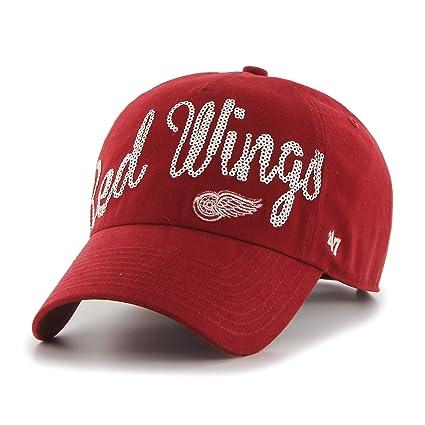Amazon.com    47 NHL Detroit Red Wings Women s Sparkle Script Clean ... a14c05d5f