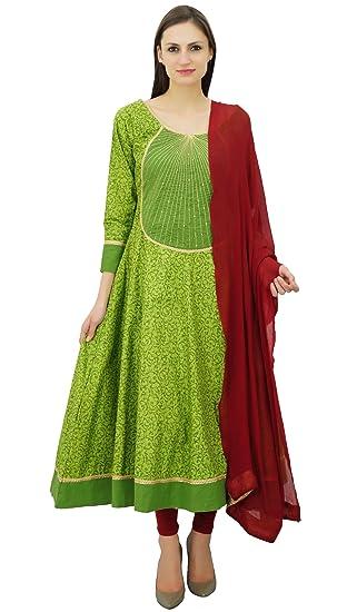 915e40f001 Atasi Women's Green Printed Cotton Kurti Salwar Kameez with Dupatta  Anarkali Suit Set Designer Party Wear Dress: Amazon.co.uk: Clothing