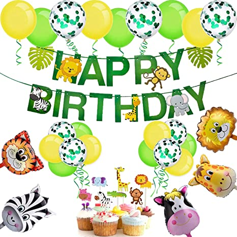 Kindergeburtstag Dekoration Dschungel Happy Birthday Girlande 5 Tiere Folienball