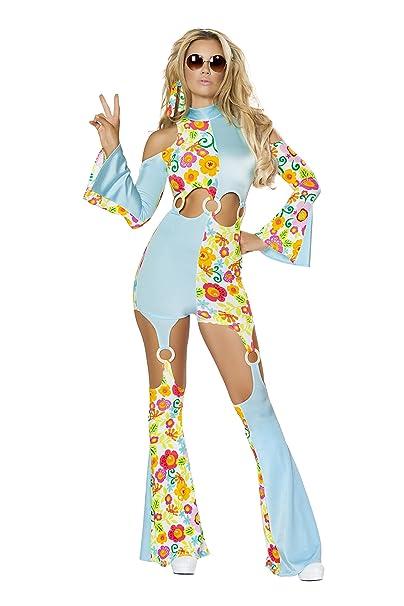 610f1e13311a Amazon.com  2 Piece Hippie Flower Child Groovy Jumpsuit w  Headband Party  Costume  Clothing