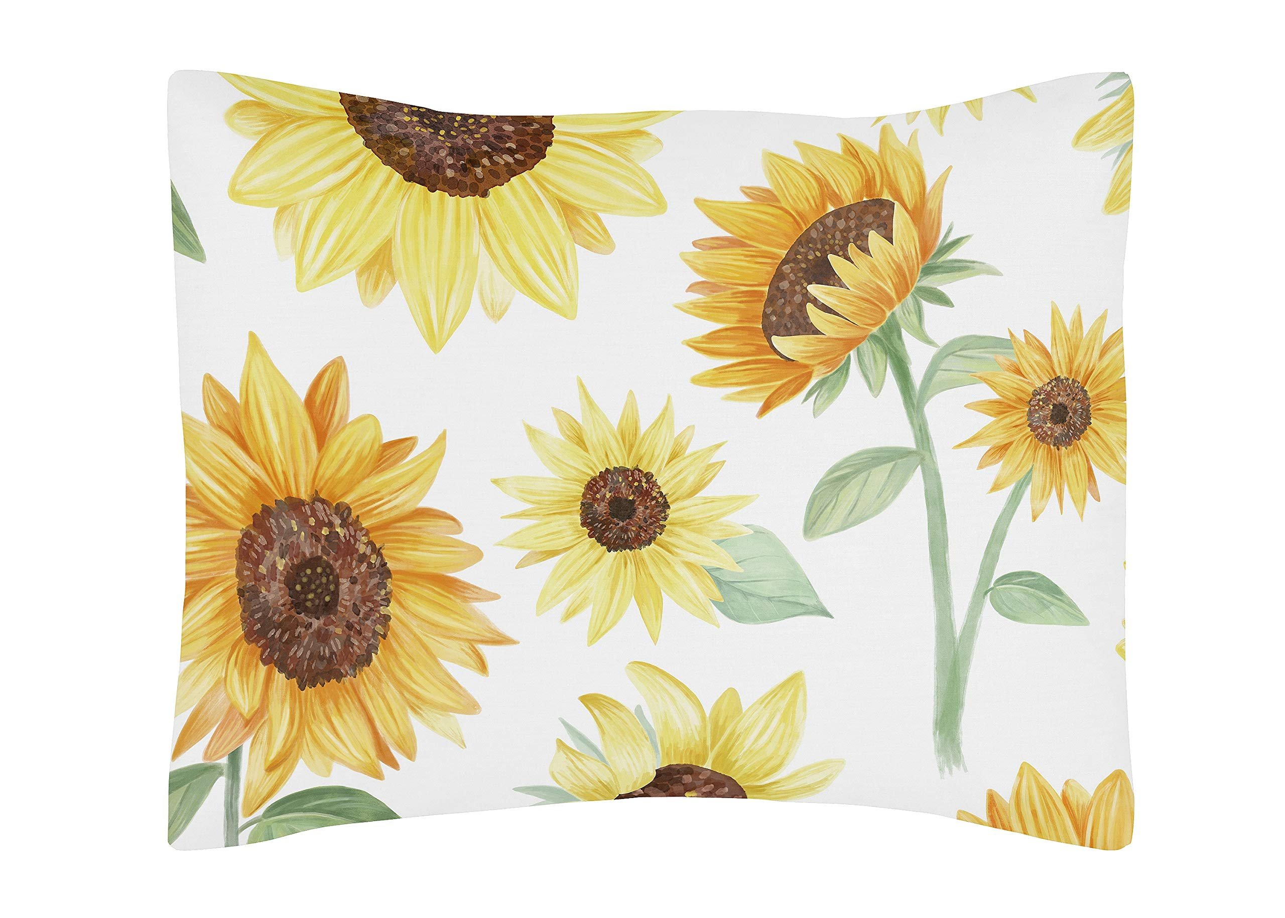 Sweet Jojo Designs Yellow, Green and White Sunflower Boho Floral Standard Pillow Sham - Farmhouse Watercolor Flower by Sweet Jojo Designs