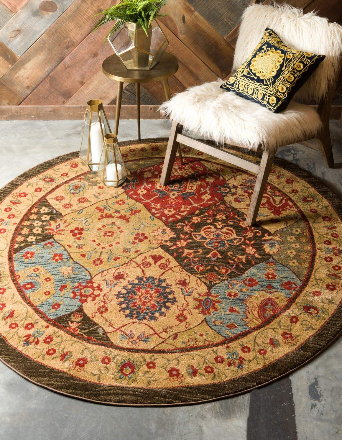 Unique Loom Edinburgh Collection Oriental Traditional French Country Multi Round Rug 12 2 x 12 2