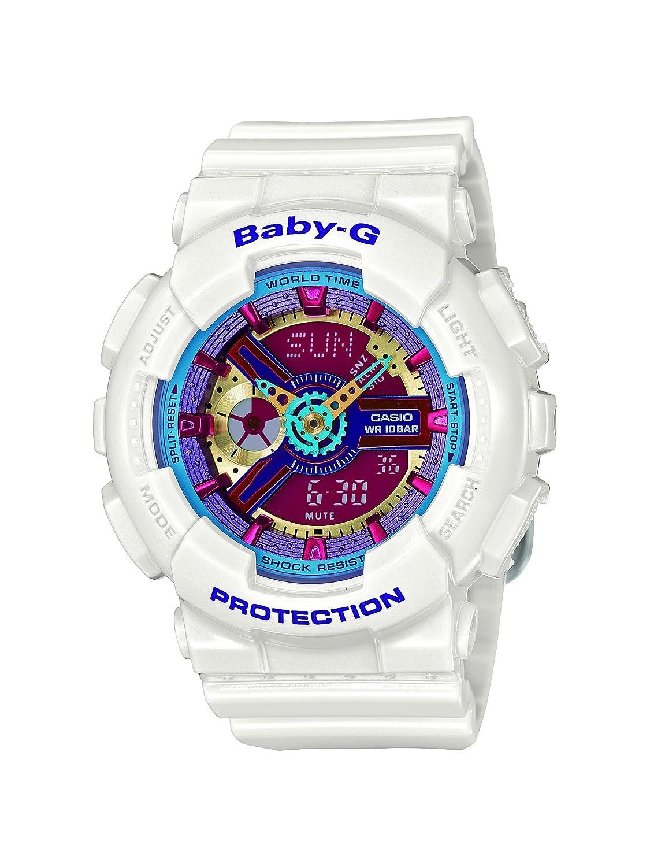 Casio Women s Baby G Quartz 100M WR Shock Resistant Resin Color White with Multi Color Face Model BA-112-7ACR