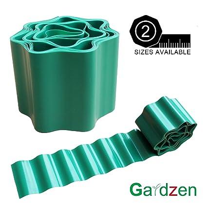 Gardzen 3.9in X 29ft Gardening Green Flexible Plastic PVC Garden Lawn Edging,  Border Edging