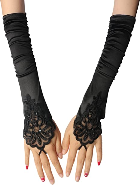 InnoBase Black Opera Gloves Long Glove 1920s Accessories Flapper Costume Finger-less Gloves for Women Roaring 20s Accessories Classic Satin Elbow Length Gloves S12