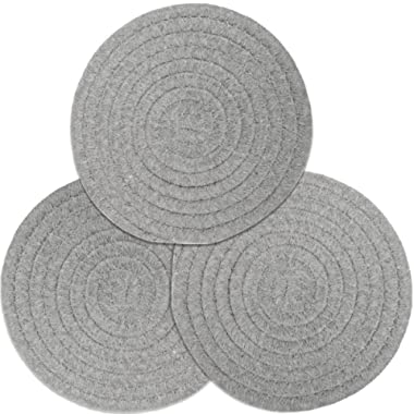 100% Cotton Thread Weave Pot Holders, Hot Pads, Pot Holders, Spoon Rest, Jar Opener & Coasters, for Cooking and Baking, Diameter 7 Inches, Round, Set of 3, Light Grey