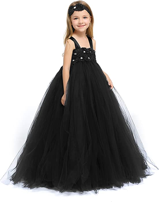 4ccba3f7f Amazon.com: MALIBULICo Fluffy Flower Girl Tutu Dress with Matching Headband  for Wedding and Birthday Party: Clothing