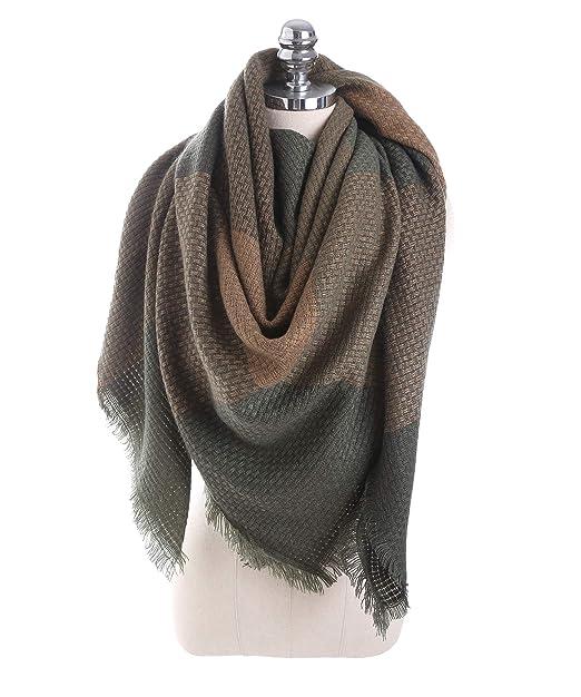 Tom+Alice Fashion Green Plaid Scarf Classic Womens Blanket Scarf Winter Fall  Warm Tartan Shawls ad0095648