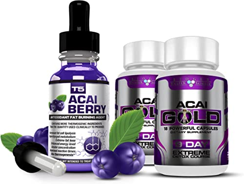 Biogen Health Science Strongest Legal ACAI Berry Duo Saver Pack T5 Fat Burners Acai Berry Serum Acai Berry Detox Pills. 1 Month Supply