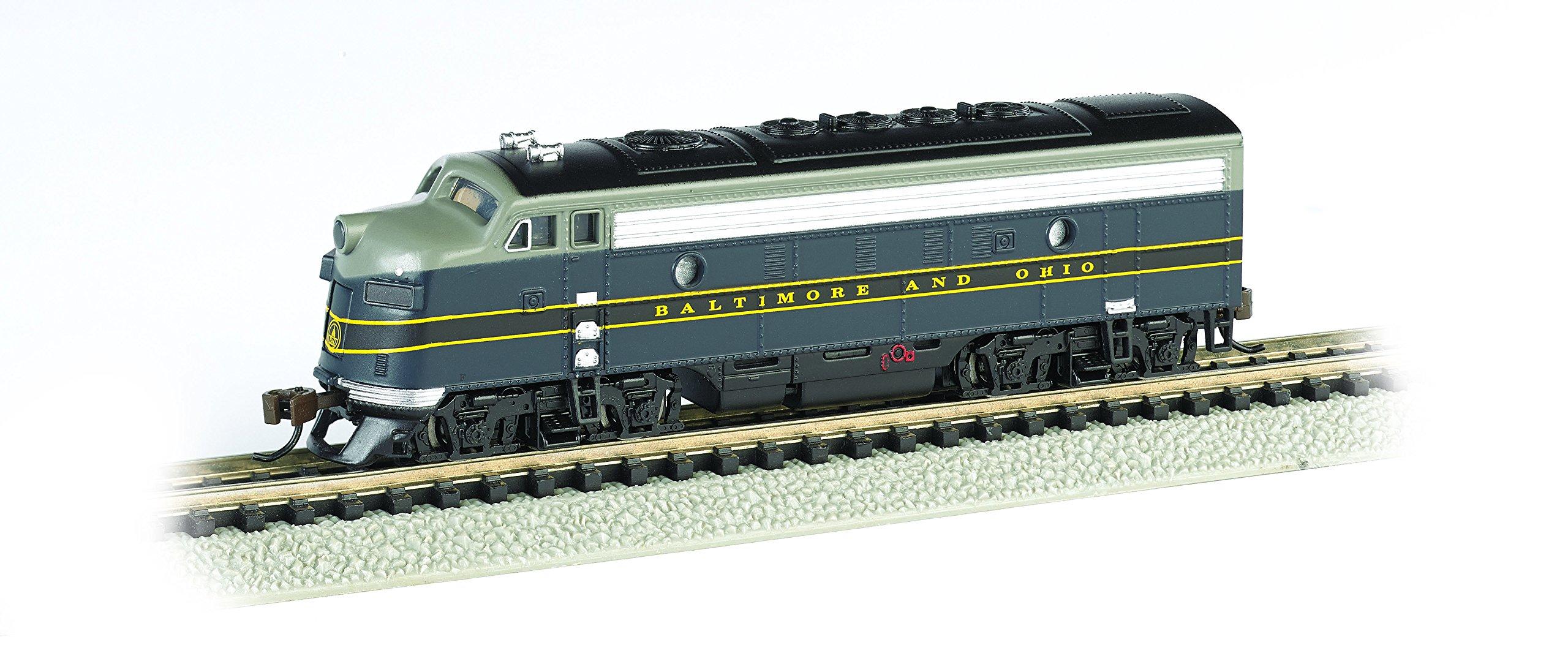 Bachmann Industries EMD F7-A Diesel Locomotive DCC Equipped B and O Train Car, Blue/Gray/Black, N Scale