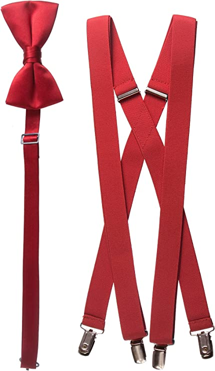 Zacs Alter Ego/® Mens Matching Suspenders /& Pre-Tied Bow Tie Combo Sets for Stag Dos