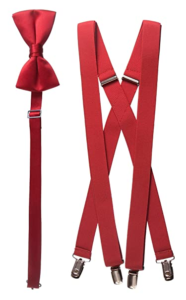 9da40aa5c48b Matching Red Adjustable Suspender and Bow Tie Sets, Kids to Adults Sizing  (25""